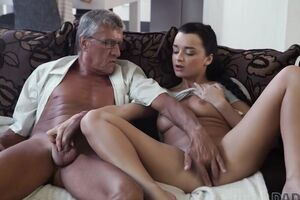 DADDY4K. Skillful old stud controls to fuck comely brown-haired on bed